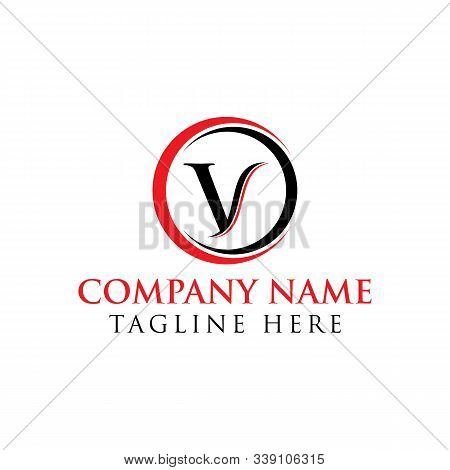 Circle Letter V Logo With Creative Modern Business Typography Vector Template. Creative Abstract Let