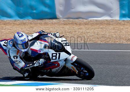 Jerez De La Frontera, Spain - Apr 17: Stock Extreme Motorcyclist Eduardo Salvador Takes A Curve In T