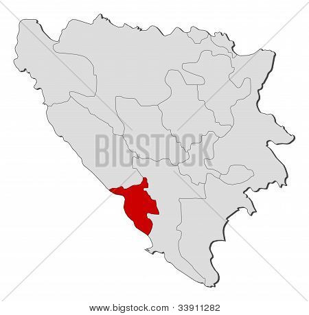 Map Of Bosnia And Herzegovina, West Herzegovina Highlighted