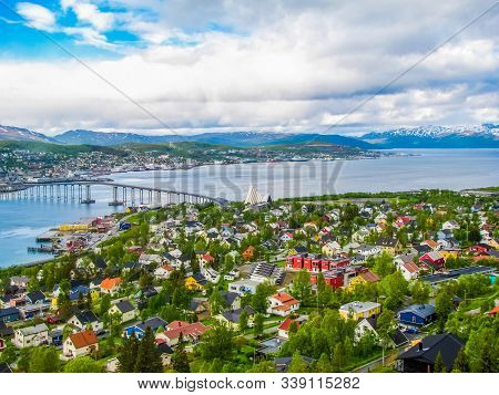Summer Aerial View Of The City Of Tromso,norway