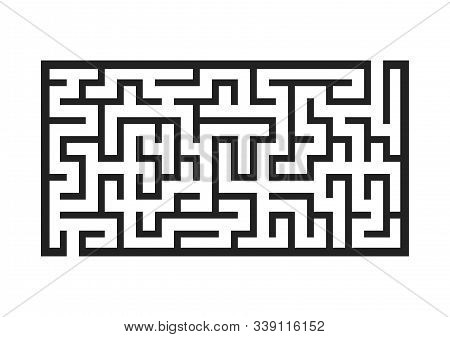 Black Rectangular Labyrinth. Game For Kids. Puzzle For Children. Maze Conundrum. Flat Vector Illustr