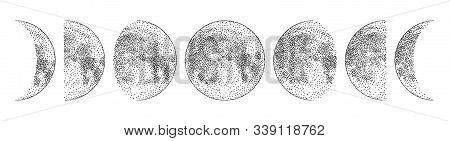 Phases Of The Moon, Monochrome Hand Drawn Vector Illustration