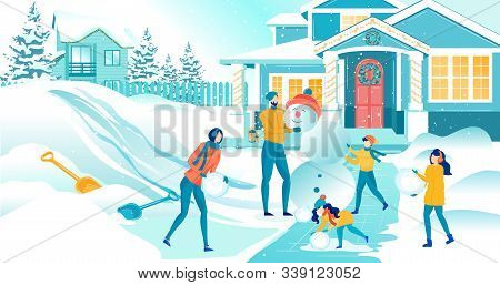 Three Happy Kids Building And Decorating Funny Snowman Together With Mom And Dad In Snowy Yard. Grea