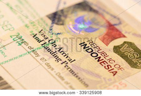 Singapore-14 Jan 2018: Visa To Indonesia (visa On Arrival To Republic Of Indonesia). Visa Stamp In P