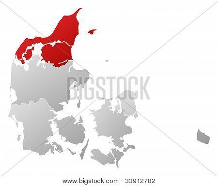 Map Of Danmark, North Denmark Highlighted