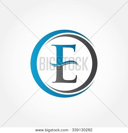 Circle Letter E Logo With Creative Modern Business Typography Vector Template. Creative Abstract Let