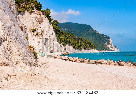 Spiaggia Del Frate, Numana, Ancona, Marche, Italy - September 11, 2019: People Resting On Amazing Wh