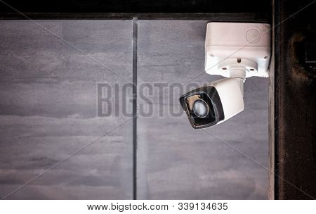 Ceiling Mounted Cctv Security Surveillance Camera In Operation