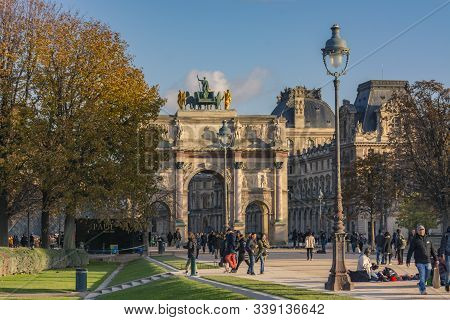 Paris, France - November 7, 2019: The Triumphal Arch Of The Carrousel (arc De Triomphe Du Carrousel)