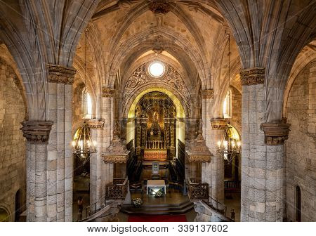 Viseu, Portugal - 19 August 2019: Interior And Altar In The Se Or Cathedral Church In The Old Town O