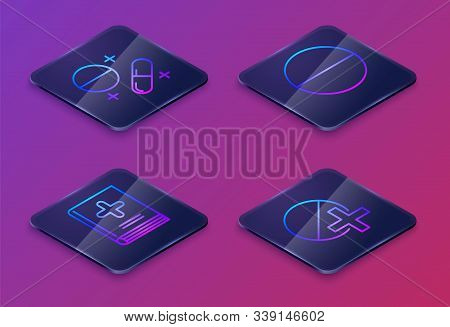Set Isometric Line Medicine Pill Or Tablet, Medical Book, Medicine Pill Or Tablet And Medicine Pill