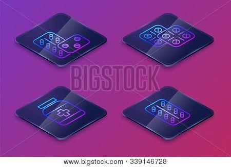Set Isometric Line Pills In Blister Pack, Medicine Bottle, Pills In Blister Pack And Pills In Bliste