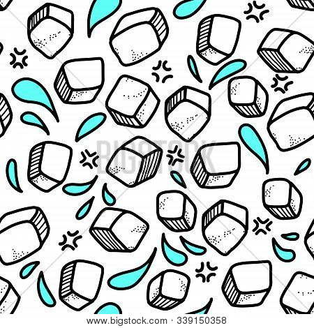 Frosty Vector Seamless Pattern. Ice Cubes Are Scattered All Over The Background. Doodle Elements, Ca