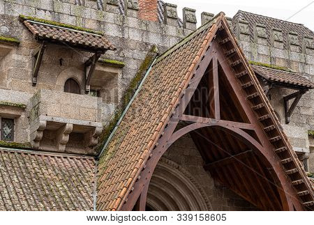Detail Of Small Doors And Roofs In The Palace Of The Dukes Of Braganza In Guimaraes In Northern Port