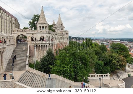 Budapest, Hungary - Juli 13, 2019: Visitors At Stairs Of Fisherman Bastion In Budapest, Hungary