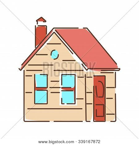 House Color Line Icon. A Building That Functions As A Home. Pictogram For Web Page, Mobile App, Prom