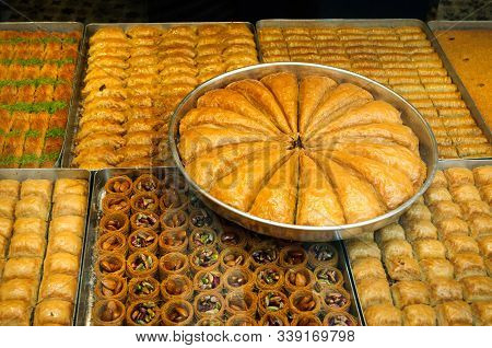 Baklava Traditional Turkish Delicacy In The Street Market Of Istanbul.