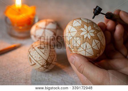 Woman Paints An Easter Egg, Ukrainian Pysanka By Hot Wax
