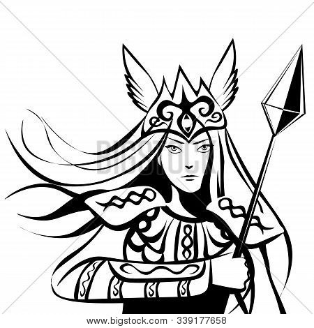 Armed Valkyrie, Female Warrior With A Lance, Scandinavian Mythology Character
