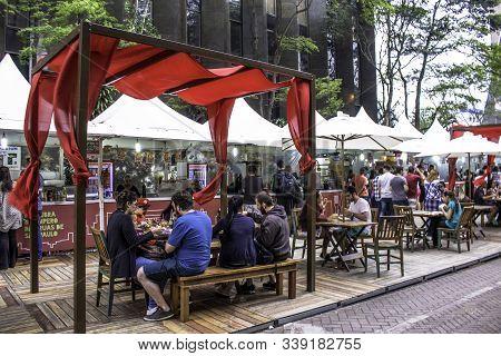 Sao Paulo, Brazil, December 10, 2016. Gastronomic Fair In Paulista Avenue, Central Region Of  Sao Pa