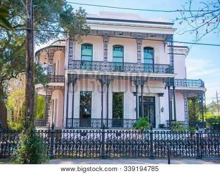 New Orleans, Louisiana, Usa. December 2019. One Of The Most Beautiful And Expensive House In New Orl