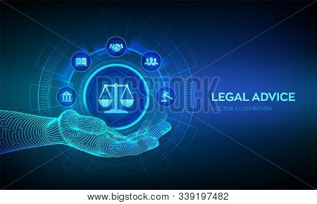 Labor law, Lawyer, Attorney at law, Legal advice concept on virtual screen. Internetlaw and cyberlaw as digital legal services or online lawyer advice. Law sign in robotic hand. Vector illustration. poster