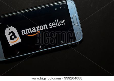 Bekasi, West Java, Indonesia. December 13, 2019 : Amazon Seller Dev App On Smartphone Screen. Amazon