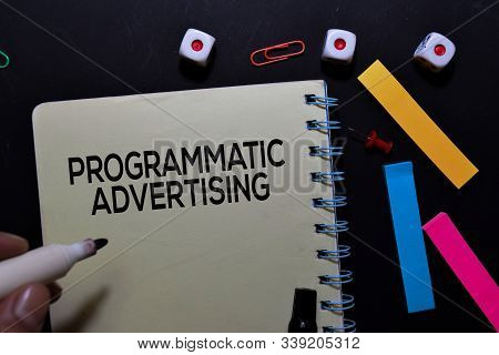 Programmatic Advertising Text On Book Isolated On Office Desk