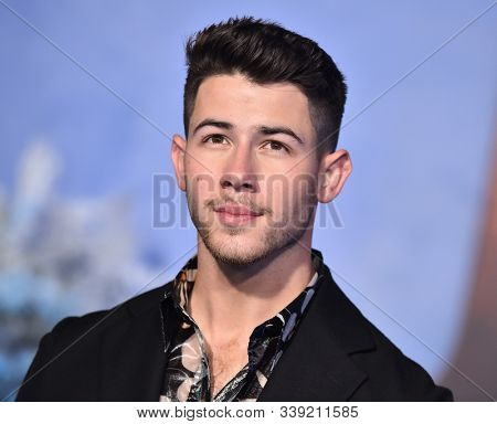 LOS ANGELES - DEC 09:  Nick Jonas arrives for the 'Jumanji: The Next Level' Los Angeles Premiere on December 09, 2019 in Hollywood, CA