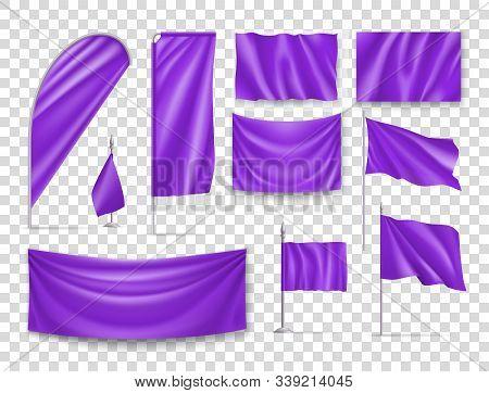 Purple Rectangular Flags Set Isolated On Transparent Background. Realistic Wavy Flag On Pole, Expo B