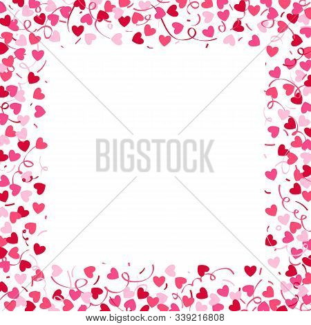 Square Frame Made From Confetti Hearts And Serpentine. Cute Heart Border With Space For Text.