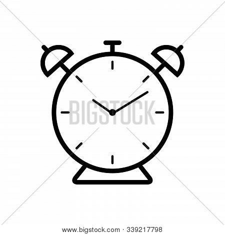 Black Line Icon For Alarm Clock Alarmclock Alert