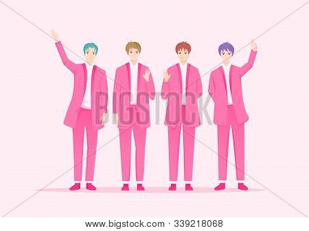 Cute K-pop Music Group In South Korean Performers Of Pop Music. Korean Celebrity Singer Cartoon.