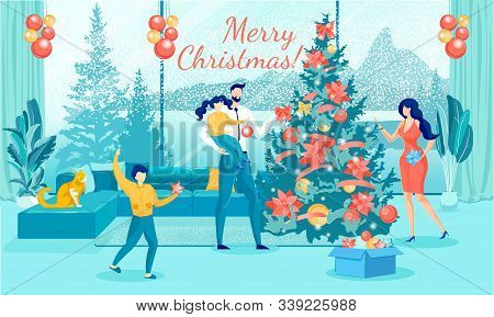 Happy Loving Family Decorating Christmas Fir Tree With Balls, Bows And Stars In Living Room At Home.