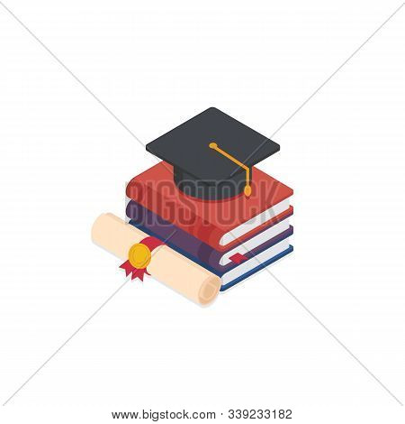 Stack Of Book With A Mortarboard And Graduation Scroll. Graduate, Study, Education, University, Coll