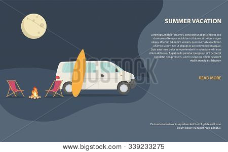 Traveling With Campervan On Summer Vacation, Outdoor Camping Illustration With Night Landscape