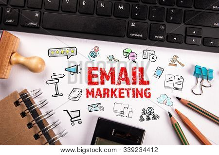 Email Marketing Concept. Computer Keyboard And Stationery