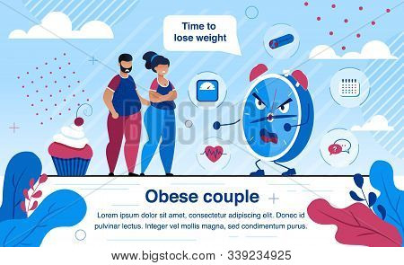 Overweight And Obesity Health Problems Trendy Flat Vector Banner, Poster Template. Obese Couple Suff