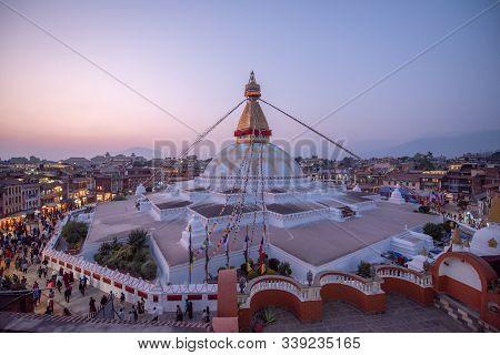 Kathmandu Nepal 17 October 2018 Nepali People And Tourist Walking At Boudhanath Stupa Center Of Tibe