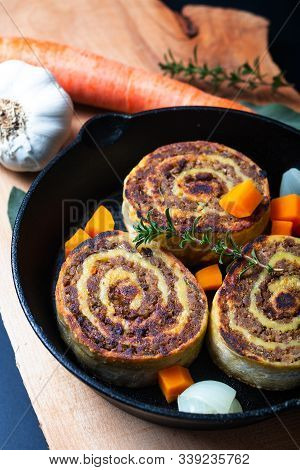 Food Concept Fleischschnackas  Alsatian, Alsace French Local Food Meat Stuffed In Egg Roll Pasta In