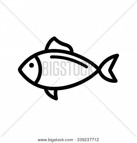 Fish Tuna Icon Vector. A Thin Line Sign. Isolated Contour Symbol Illustration