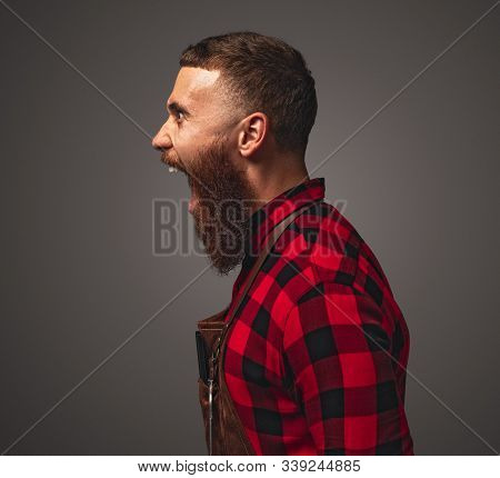 Side View Of Enraged Bearded Man In Apron And Checkered Shirt Yelling Loudly During Work In Barbersh