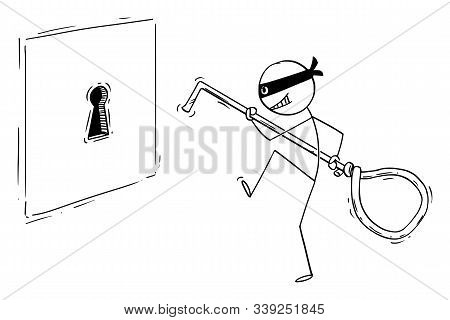 Vector Cartoon Stick Figure Drawing Conceptual Illustration Of Man In Mask Or Criminal Or Thief Snea