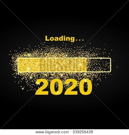 Loading New Year 2020. Greeting Card Bright Sparkles. Gold Dust Loading Bar Happy New Year 2020. Sim