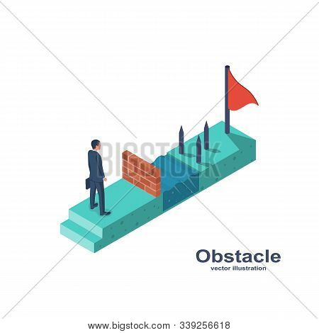 Businessman Obstacle Metaphor. Conquering Adversity. Hurdle On Way Concept. Overcoming Obstacle On R