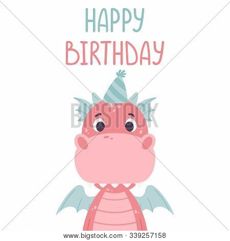 Cute Cartoon Dragon. Festive Toothy Smiling Pink Funny Dinosaur With Blue Wings. Scandinavian Style.