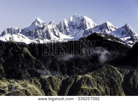 Picturesque Snow-capped Mountains. Winter Trip To New Zealand.