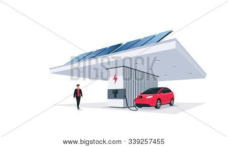Electric Car Charging At The Charger Station With Solar Panels On The Roof