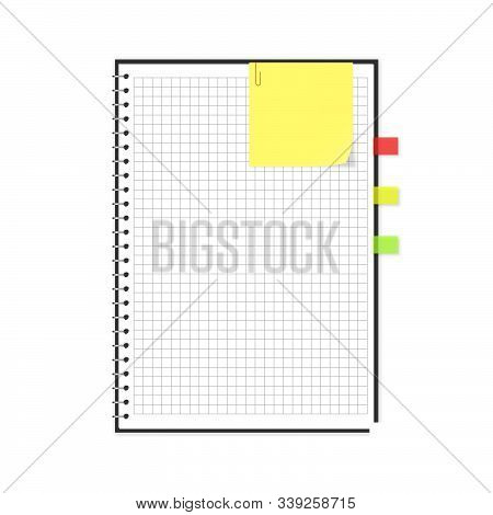 Vector Block Note With Yellow Sticker And Transparent Bookmarks Set. Illustration Of Empty Squared N