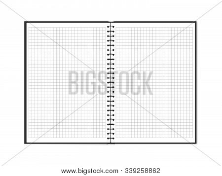 Vector Illustration Of Open Double Page Spread Block Note With Square Grid. Empty Notepad With Copy